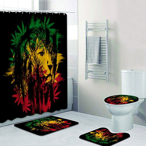 Reggae Lion Bathroom Decor- Shower Curtains Set- Bath Rug -Carpet- Toilet Cover