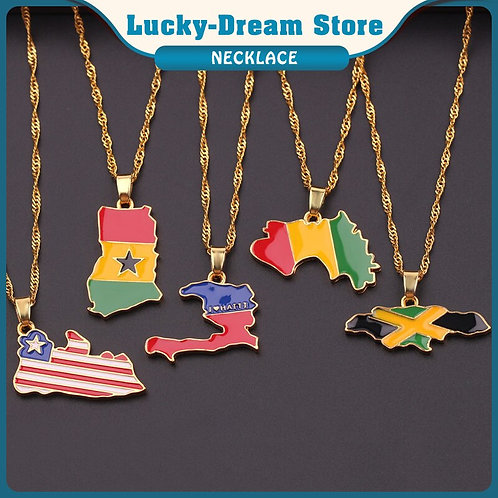 Flag Necklace Pendant Chain Jewelry