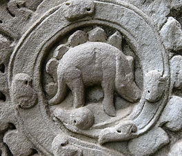 Stegosaurus Temple Carving
