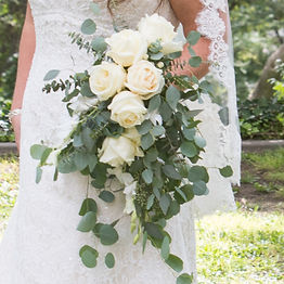 Bridal bouquet, cascade bouquet, white roses, rose, eucalyptus, Kellogg House, Pomona California,wedding flowers