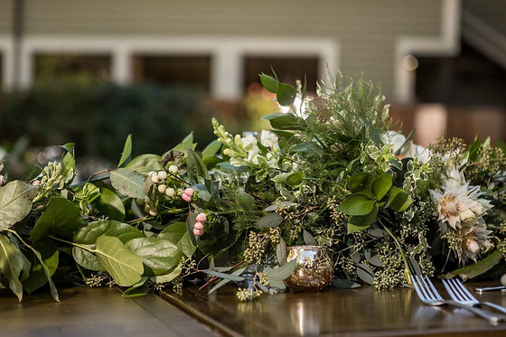 Garland, wedding, greenery, candles, Lake Arrowhead