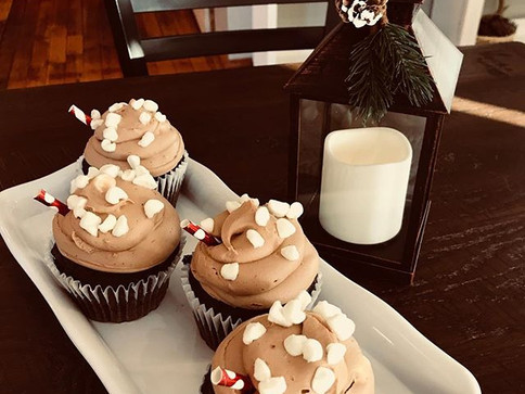 This picture does not even do justice to the adorableness of these hot cocoa cupcakes! #birchandbanyancoffee #cupcakes #hotcocoa #hotcocoacu