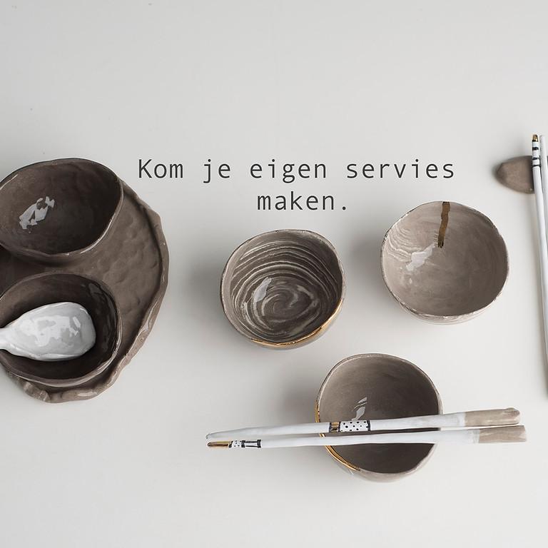 Workshop Hapas Tapas of japas  schalen set maken van keramiek