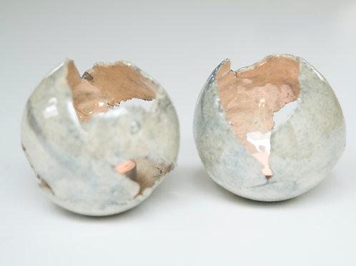 Theelicht zilver/grijs met parelmoerlaagje
