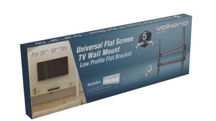 "Volkano TV Wall Mount Flat 27-55"" inch - Black"