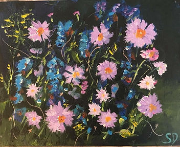 Wildflowers, acrylic on board