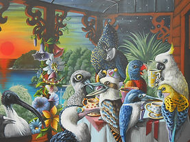 Chit-chat on the island 60x90cm acrylic
