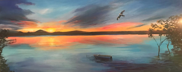 Sunset at Rocky Point, oil