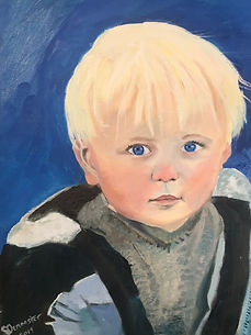 Grandson, portrait, oil