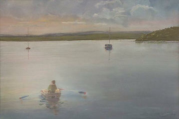 Boats in Redland Bay, watercolour