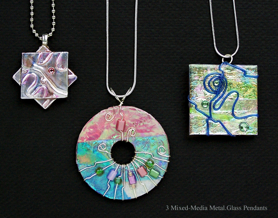 MIXED MEDIA METAL & GLASS PENDANTS