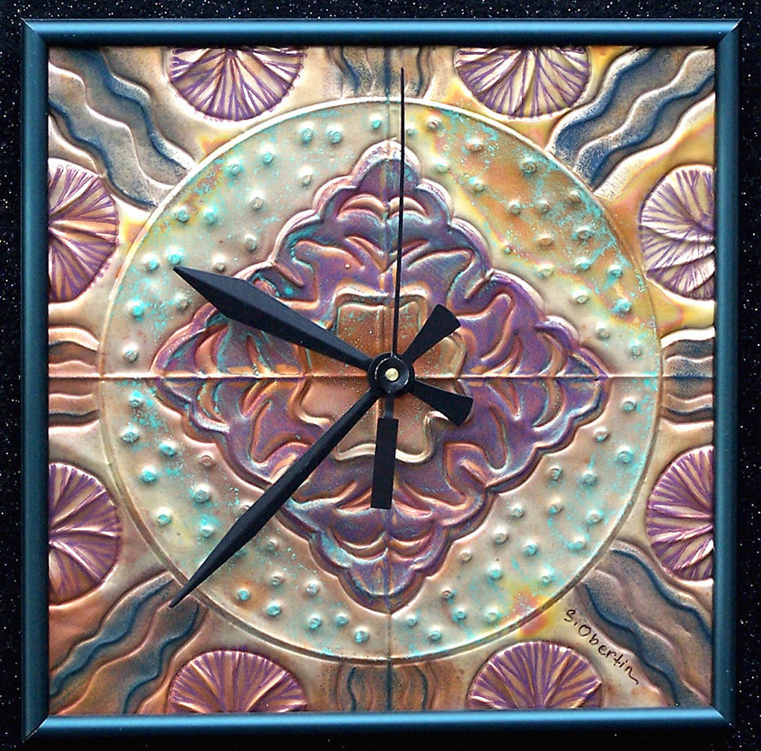 HAND TOOLED METAL CLOCK  sjpo