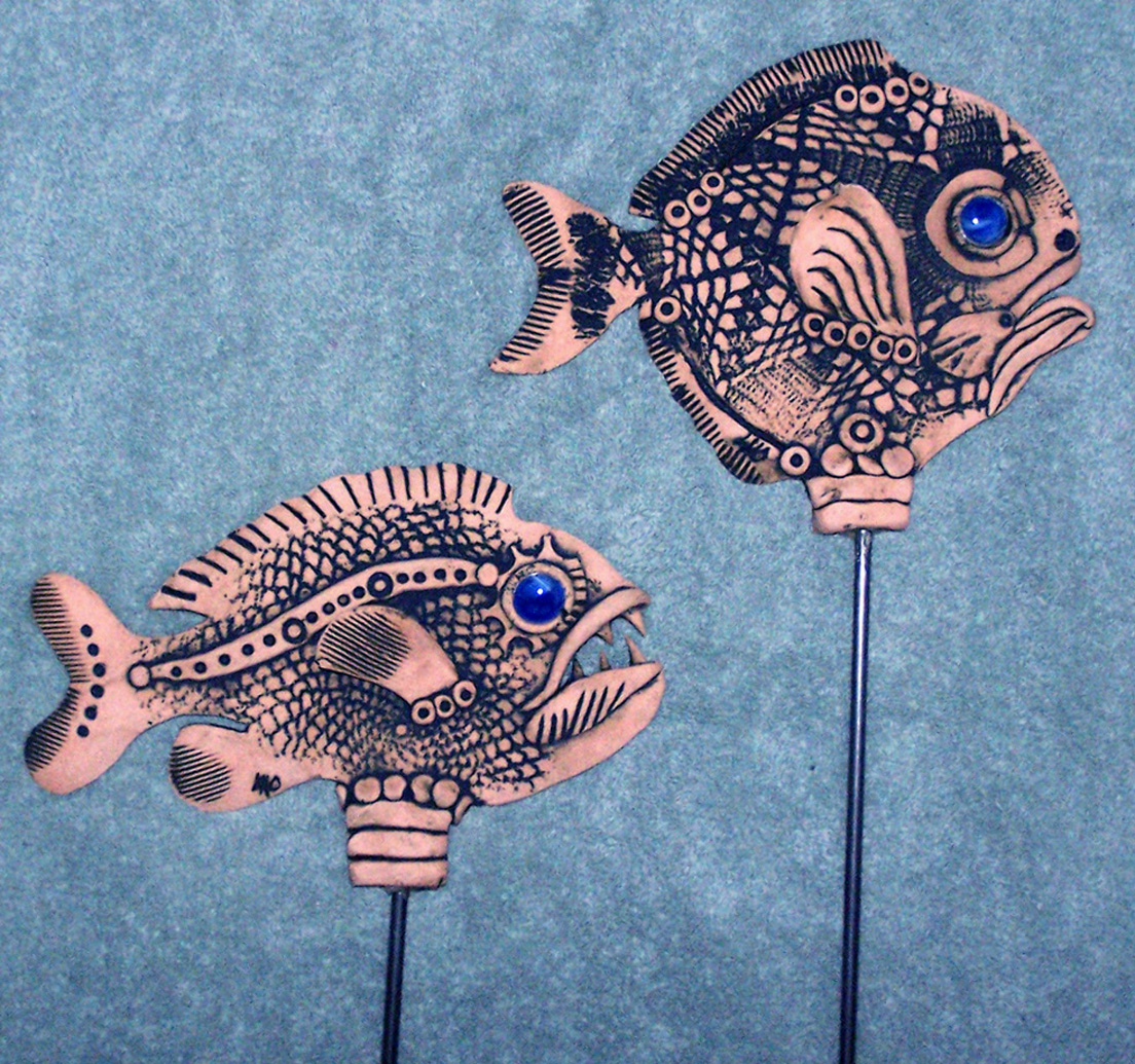 Stoneware Fish Garden Art