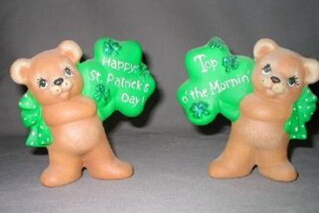 Set of bear with shamrock signs