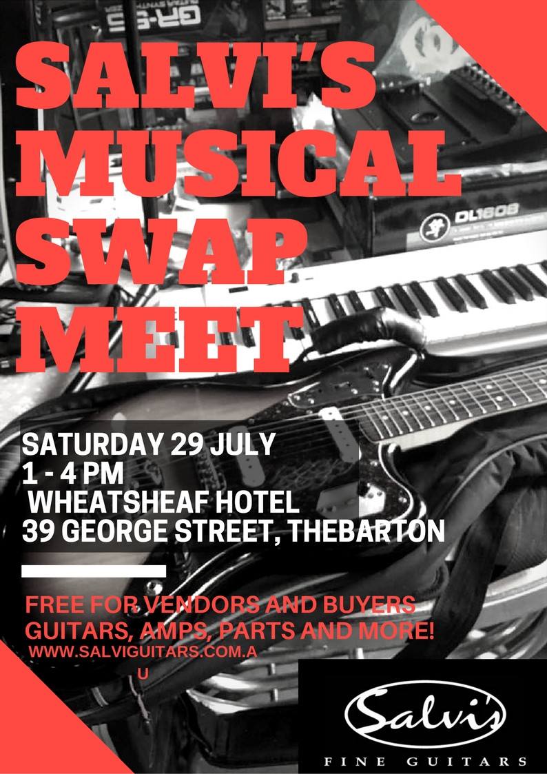 Our bi-yearly swap meet! Come along and swap,trade, buy and sell anything musical! Meet like minded people and enjoy the atmosphere of one of Australias greatest brewing pubs and live music venues. July 29 2017 at 1pm till 4pm.
