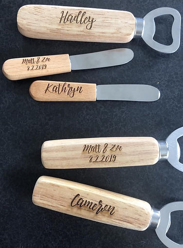 Personalised bottle openers and cheese knives