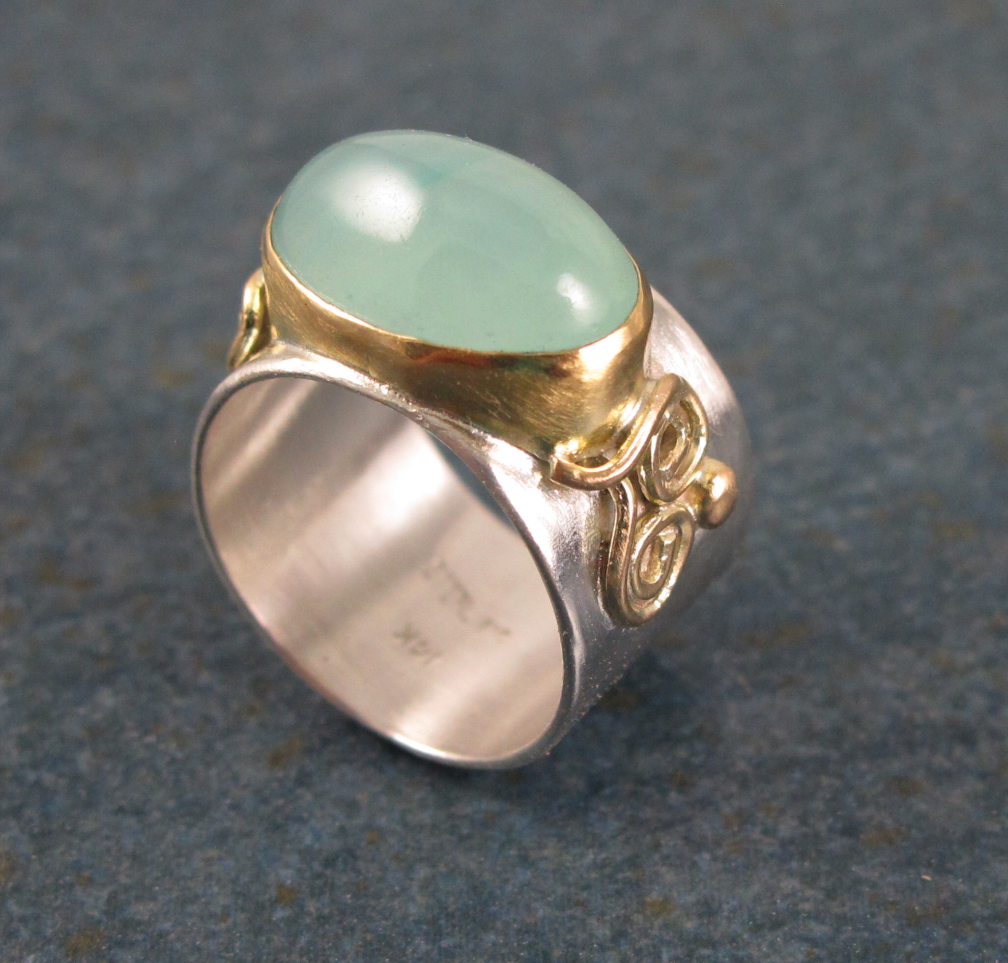 gold silver smithsonite ring