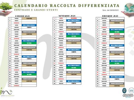 Calendario della Raccolta differenziata delle Contrade e Grandi Utenze