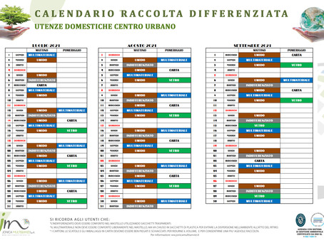 Calendario raccolta differenziata da Luglio a Settembre 2021