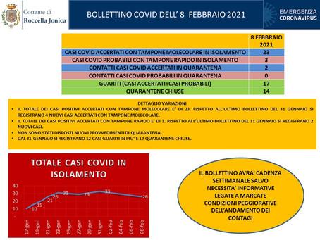 Casi di Covid-19 a Roccella Jonica. Bollettino dell'8 febbraio 2021.