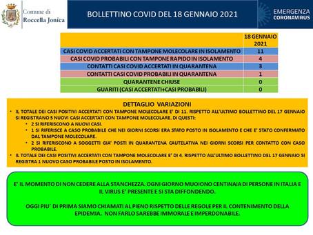 Casi di Covid-19 a Roccella Jonica. Bollettino del 18 gennaio 2021.