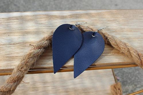 """Boucle d'oreille simili-cuir  Bleu nuit """" Lauretta"""""""