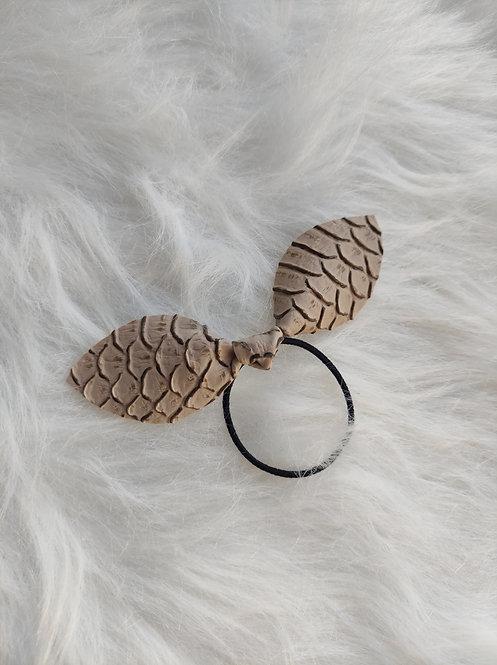 L'Elastique nœud en simili cuir Beige