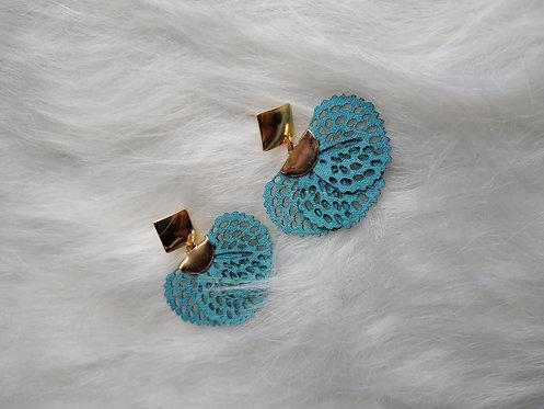 Boucle d'oreille fleurs Bleu Paon