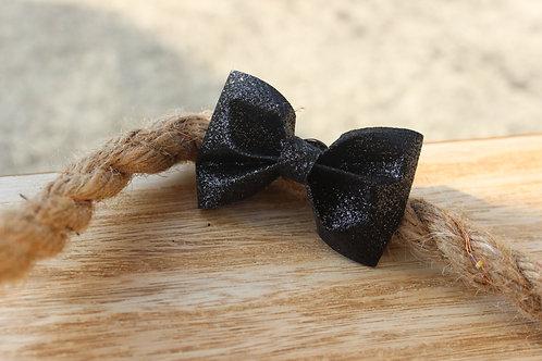 La broche nœud Noir Pailleté