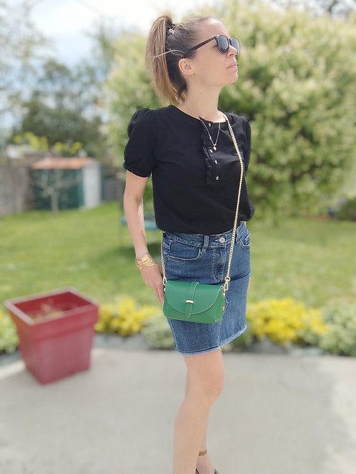 "Sac bandoulière Vert émeraude en cuir  ""Val"""
