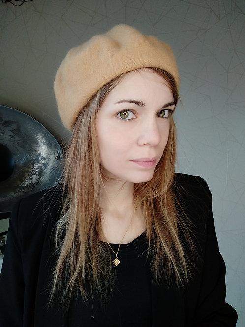 Bonnet / Beret Camel en Laine