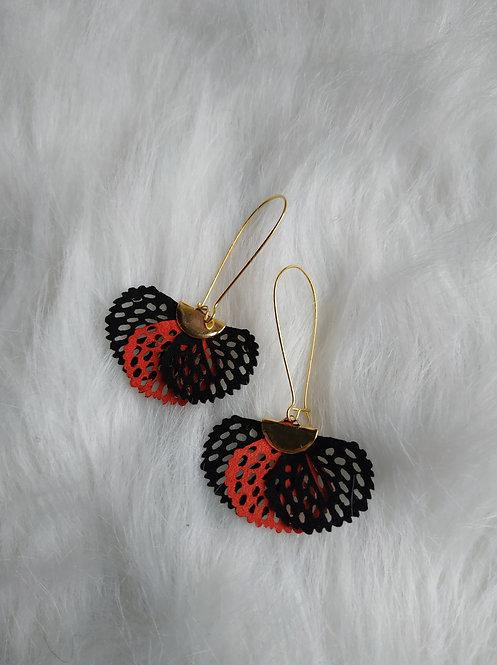 Boucle d'oreille fleurs Noir et Orange