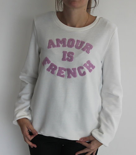 """Sweat blanc """" Amour is French"""""""