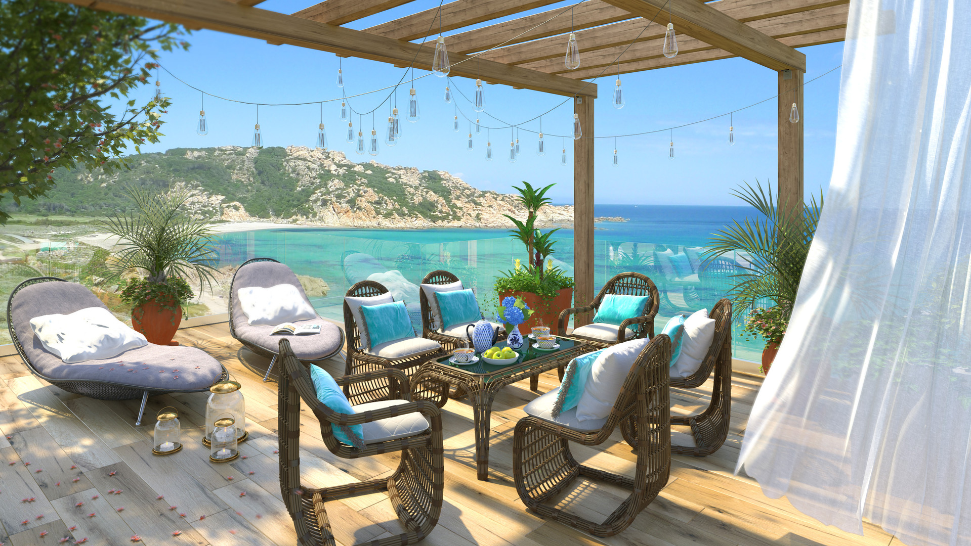 Patio, Mediterranean Sea
