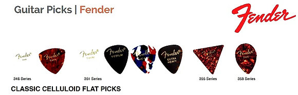 FENDER CLASSIC CELLULOID FLAT PICKS