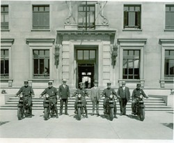 Motorcyle unit in front of Safety Buildi