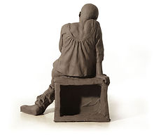 Yulia sitting, 2010,  burnt clay, 24.5x1
