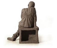 Yulia sitting, 2010,  burnt clay, 24.5x1