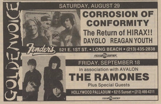 Dayglo, Ramones, Corrosion of Conformity, Reagan Youth...