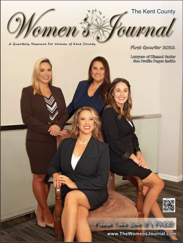 empowered women lawyers who are sitting in chairs against a clean white background in an office building. Powerful, smart, strong female attorneys and lawyers are featured on the cover of a regional magazine.