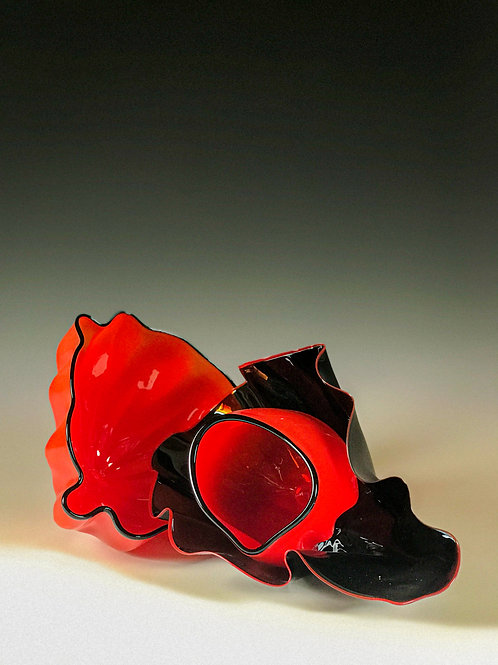 Fiery Red and Flame Tipped Carbonite Nested Set