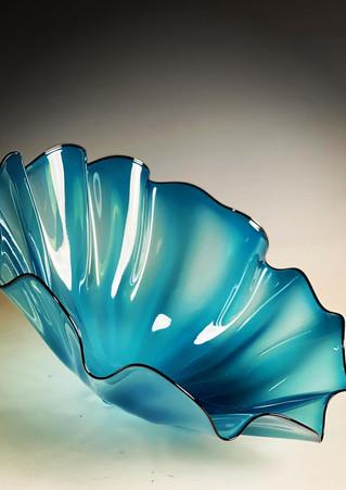 Sea Blue Fluted Bowl