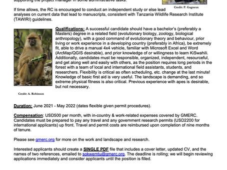 We're hiring!! Field-based Research Coordinator sought. See more below!