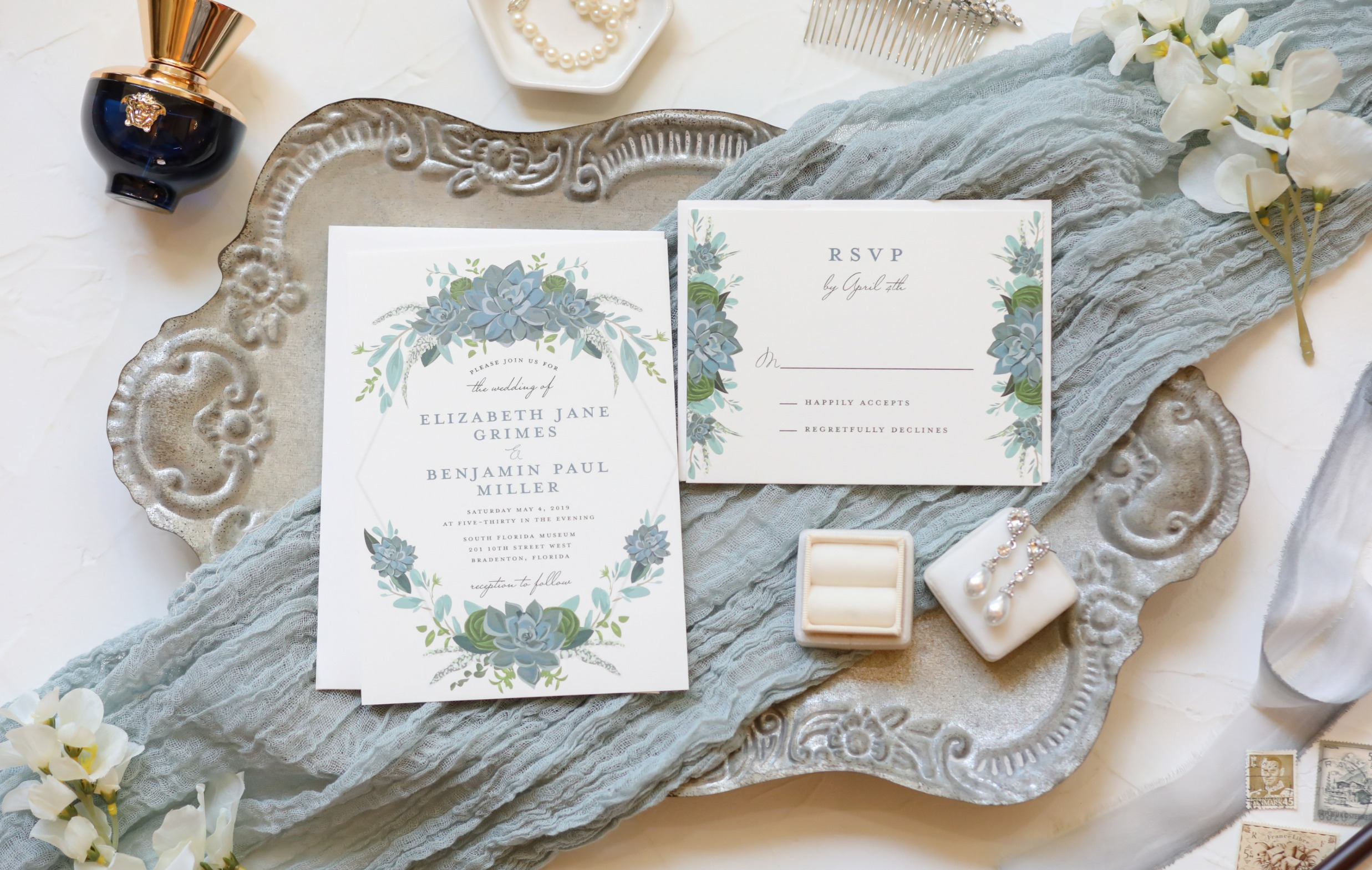 Kelly Kennedy Weddings - Blue Invite