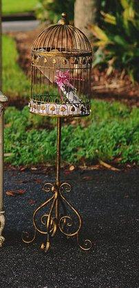 Antique Gold Bird Cage - $20