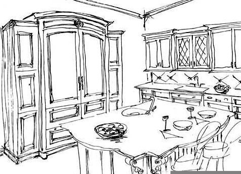 sub-zero armoire sketch