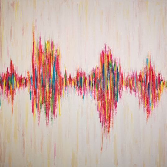 Painting of a Daughter's voice captured in soundwave
