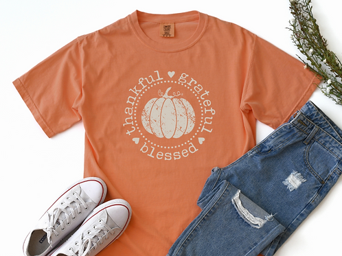 Thankful Grateful Blessed Pumpkin Tee One