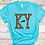 KY Leopard Print Kentucky Shirt Turquoise Close Up