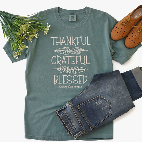 Thankful Grateful Blessed Feather Tee One